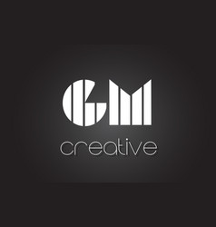 gm g m letter logo design with white and black vector image
