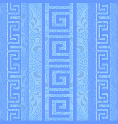 greek ornamental light blue seamless pattern vector image