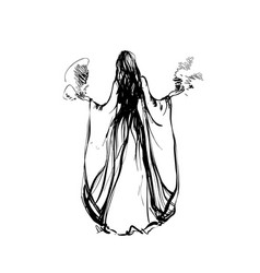 hand drawn cartoon witch girl isolated on vector image