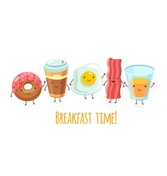 Happy breakfast characters egg sandwich coffee vector