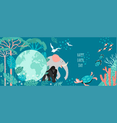 Happy earth day banner with globe vector