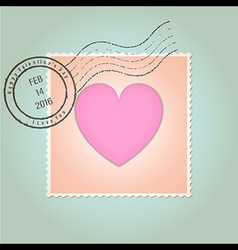 Happy Valentines Day Postage Stamp Vintage vector image