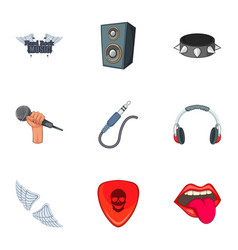 Hard rock things icons set cartoon style vector