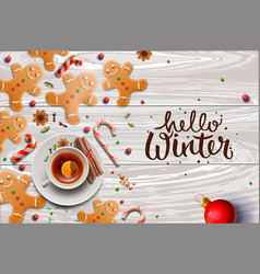Hello winter poster gingerbread cookies candy vector