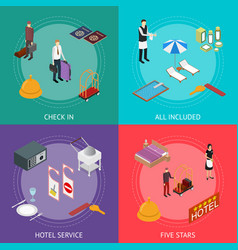hotel service banner card set isometric view vector image