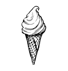 ice cream waffle cone skecth hand drawn icecream vector image