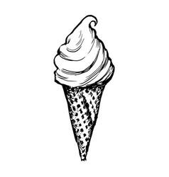 Ice cream waffle cone sketch hand drawn icecream vector