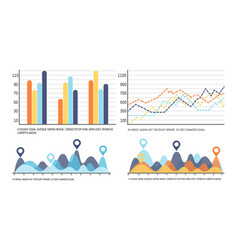 infographic with curves increasing data results vector image