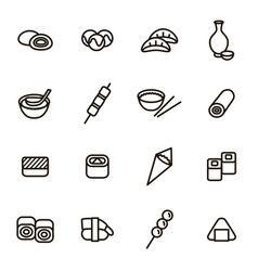 japanese foods black thin line icons set vector image