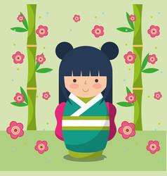 japanese kokeshi doll in kimono vector image