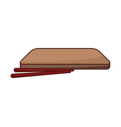 Japanese wooden plate and sticks for food vector