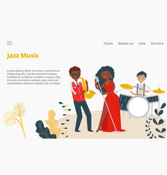 jazz musicians female singer and jazz band vector image