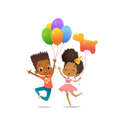 Joyous african-american boy and girl with the vector
