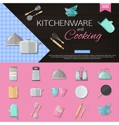 Kitchenware and cooking background with set of vector image