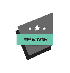 Label buy now and 3 star black green vector