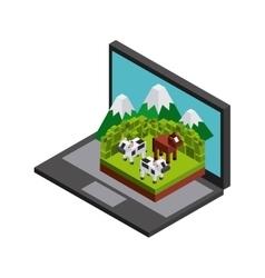 Laptop cow horse mountain icon Isometric design vector