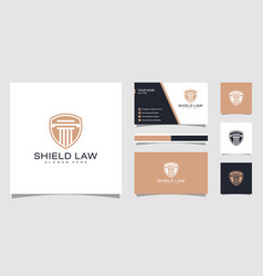Law firm shield logo design and business card vector