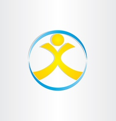 Letter x man in circle icon vector