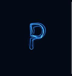 Lightning realistic letter p bright gloving logo vector