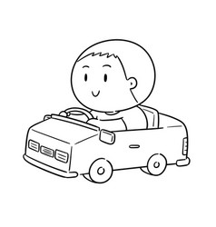 man driving car vector image