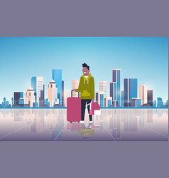 man tourist holding luggage backpack happy guy vector image