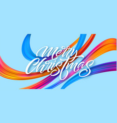 Merry christmas hand drawn lettering banner design vector