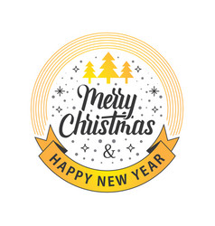 merry christmas happy new year white gold vector image