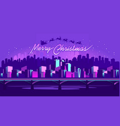 merry christmas neon city vector image