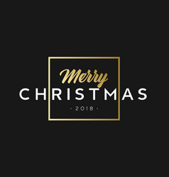 merry christmas phrase in frame luxury black and vector image