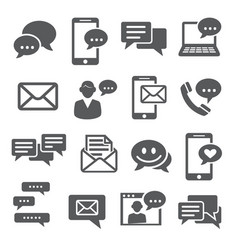 message icons set on white background vector image