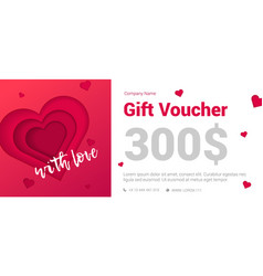 modern gift certificate with a heart for the vector image