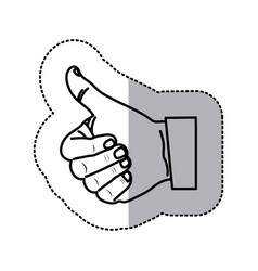 monochrome contour sticker with hand thumb up vector image