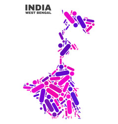Mosaic west bengal state map of dots and lines vector