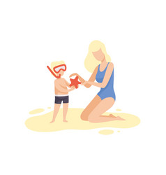 Mother and her son on beach cute boy in diving vector