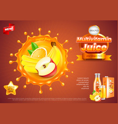 Multivitamin juice ads fruits in splash vector