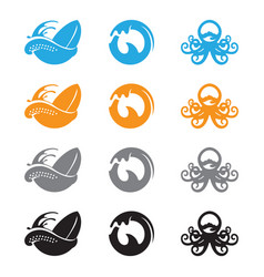 ocean wave octopus vector image