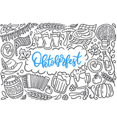 oktoberfest festival poster with lettering and vector image