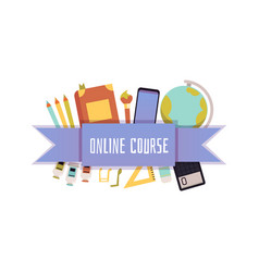 Online course badge for computer education flat vector
