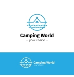 outline camping logo Tent on a river vector image