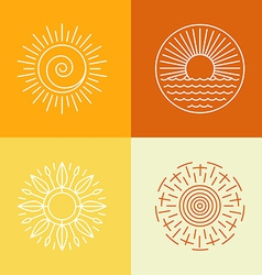 Outline sun icons and logo design elements vector