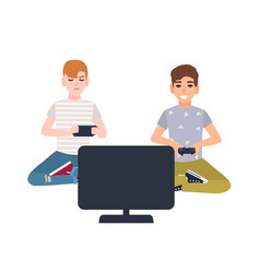 pair of young boys sitting in front of display and vector image