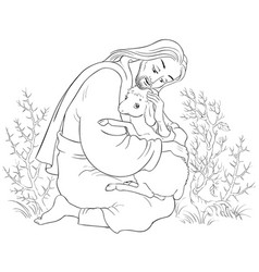Parable of jesus christ and lost sheep coloring vector
