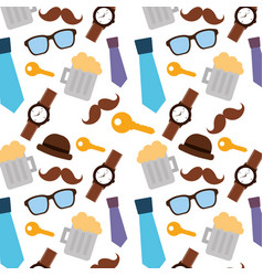 pattern decoration mustache glasses bow tie vector image