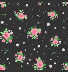 pink brown roses ditsy vintage seamless pattern vector image