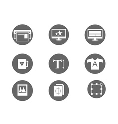 printing and design icons vector image