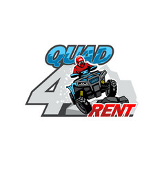 Qad bike for rent logo isolated background vector