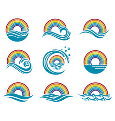 rainbow and sea icons vector image