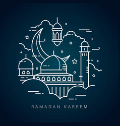 ramadan kareem islamic line art greeting card vector image