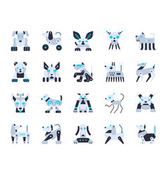robot dog cute simple flat color icons set vector image