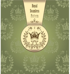 Royal seamless pattern with crown wreath leaves gr vector